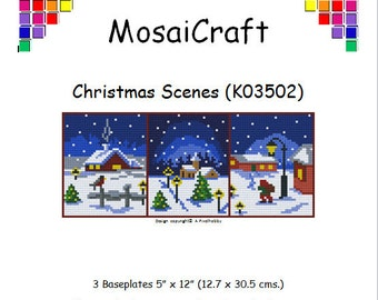 MosaiCraft Pixel Craft Mosaic Art Kit 'Christmas Scenes' (Like Mini Mosaic and Paint by Numbers)
