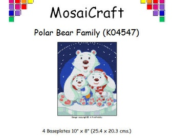 MosaiCraft Pixel Craft Mosaic Art Kit 'Polar Bear Family' (Like Mini Mosaic and Paint by Numbers)
