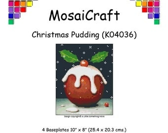 MosaiCraft Pixel Craft Mosaic Art Kit 'Christmas Pudding' (Like Mini Mosaic and Paint by Numbers)