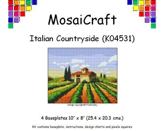 MosaiCraft Pixel Craft Mosaic Art Kit 'Italian Countryside' (Like Mini Mosaic and Paint by Numbers)