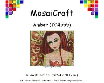 MosaiCraft Pixel Craft Mosaic Art Kit 'Amber' (Like Mini Mosaic and Paint by Numbers)