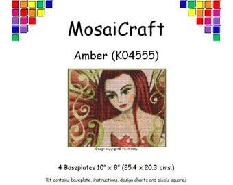 MosaiCraft Pixel Craft Mosaic Art Kit 'Amber' (Like Mini Mosaic and Paint by Numbers)