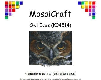 MosaiCraft Pixel Craft Mosaic Art Kit 'Owl Eyes' (Like Mini Mosaic and Paint by Numbers)