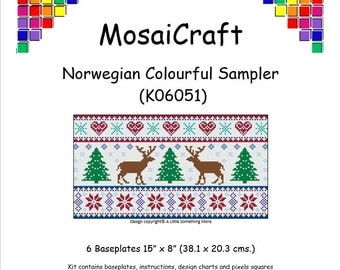MosaiCraft Pixel Craft Mosaic Art Kit 'Norwegian Colourful Sampler' (Like Mini Mosaic and Paint by Numbers)