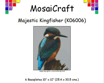 MosaiCraft Pixel Craft Mosaic Art Kit 'Majestic Kingfisher' (Like Mini Mosaic and Paint by Numbers)