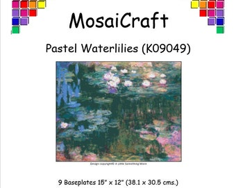 MosaiCraft Pixel Craft Mosaic Art Kit 'Pastel Waterlilies' (Like Mini Mosaic and Paint by Numbers)
