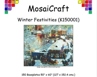 MosaiCraft Pixel Craft Mosaic Art Kit - 'Winter Festivities' (Like Like Mini Mosaic and Paint by Numbers)