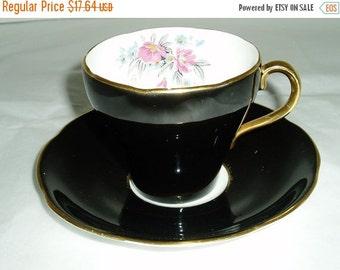 Adderley china teacup and saucer- Adderley floral teacup- black china teacup- floral china- pattern 17257- china teacup- Adderley china cup