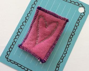 Pink Heart Brooch