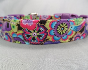 Cute Dog Collar, Dog Days Colorful Flowers Pink and Purple Girl Dog Collar