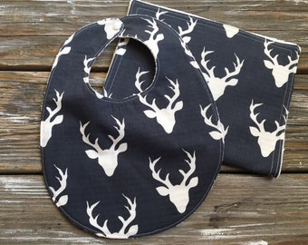 Bib/Burp Cloth Combo/Gift Set ~ Nature//Woodland//Buck//Forest//Antlers//Gender Neutral//Hunting