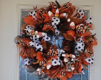 Whimsical Fall Halloween Mesh Wreath