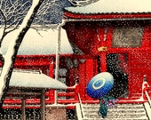 Japanese art, japanese snow winter art prints, posters, woodblock prints, paintings reproductions. Snow at Kiyomizu Hall by Hasui Kawase.
