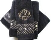 Black Gold Towels, custom towels, black bathroom, black towels, black hand towels, black and gold, gold diamond, hand towels, black and gold