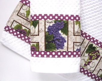 Ready to Ship! kitchen towels, wine, kitchen towels, hand towels, winery, towel, august ave, wine gift, kitchen gift, grapes, purple,