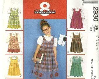 McCalls 2930 Girls 8 EASY Dress Jumper & Blouse Sewing Pattern Size 6 - 7 - 8