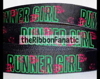 """5 yds 7/8"""" Runner Girl Shoe Print on Black Grosgrain Ribbon Run Running Lime Green Pink"""