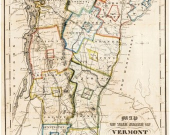 Vermont 1854 State Map - Thompson Reprint