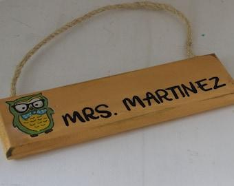 personalized hipster owl teacher sign, teacher classroom sign, thank you teacher gift, male teacher gift, teacher appreciation gift