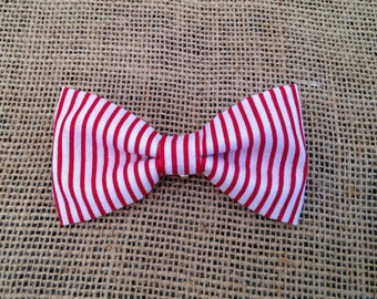 Baby Boy Toddler clip-on bow tie red stripes