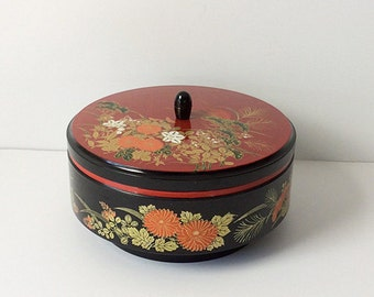 Asian Lacquer Black and Red Floral Box / Made in Japan