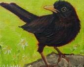 CROW PAINTING, OIL painting, bird painting, small oil painting, original art, wall art,home decor, crow, nature, black bird,bird and flowers