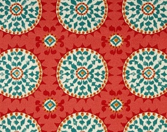Indoor / Outdoor Weather Resistant Fabric By The Yard - Waverly Dena Designs Johara Watermelon - Red Coral Turquoise Sundial