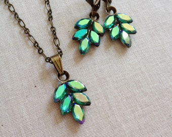 Rhinestone leaf necklace and earring set, Emerald, rhinestone, green, rhinestone leaf earrings, jewelry, necklace, pendant, gifts for women