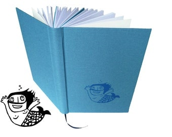 Mermaid, hand bound notebook, A5, blue, motif screen printed by hand