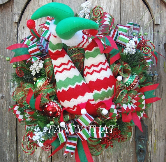 Reduced Christmas Decorations: REDUCED Elf Butt Wreath Elf Legs Christmas Wreath Red
