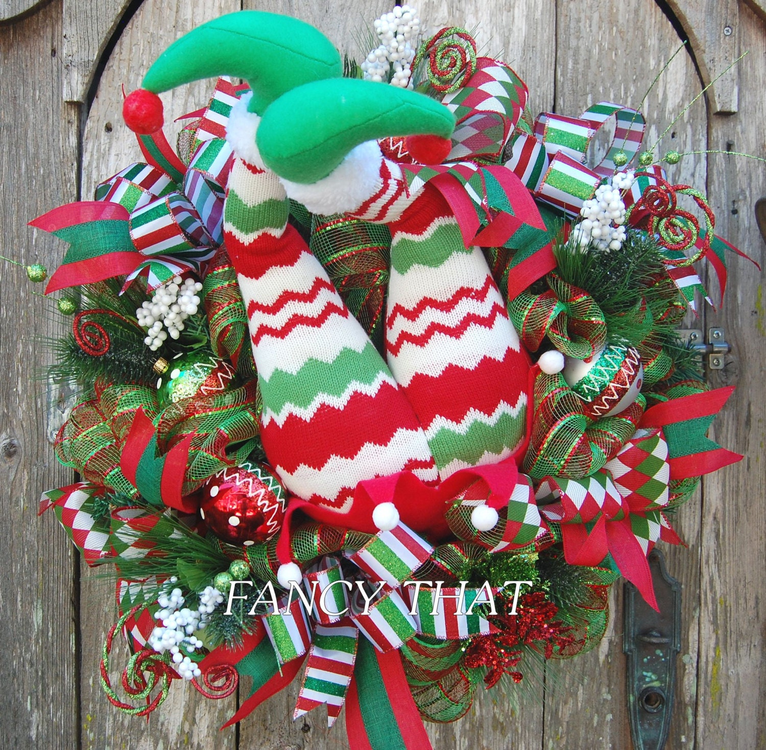 REDUCED Elf Butt Wreath Elf Legs Christmas Wreath Red