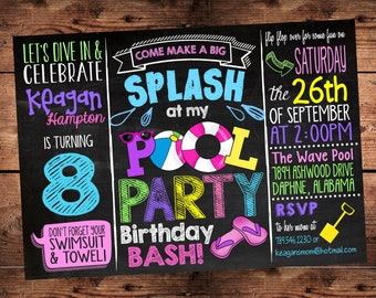 Pool Party Birthday Bash Invitation for Girls - Splish Splash Birthday Bash - Digital File