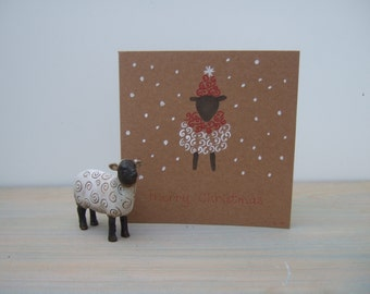 Christmas Card - Sheep Cards - Sheep in a Woolly Hat - Hand Painted Card - Greeting Cards