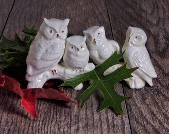 Vintage Miniature Owls Autumn Halloween  Thanksving Table Decor Harry Potter White Magic Porcelain Horned  Barn Owls on branches Gold Detail