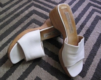 90's White Leather and Wood Sandals sz 7