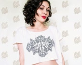Floral and Skeleton Bird Crop Top-american apparel tshirt-ONE size fits all-Womans Top- bybeep