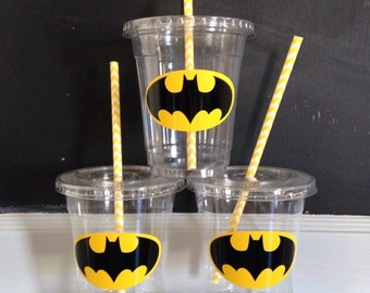 25 Plastic Batman Party Cups-12 oz