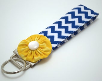 Navy Chevron Wristlet Keyfob with Yellow Flower