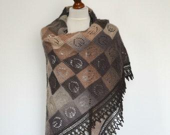 Lace shawl - hand knitted multicolored entrelac shawl - triangular - wool - handmade