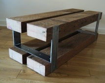 Reclaimed Wood and Metal Bench . Modern Rustic End Table. Barn Wood Furniture. Wood and Metal Side Table, Night Stand
