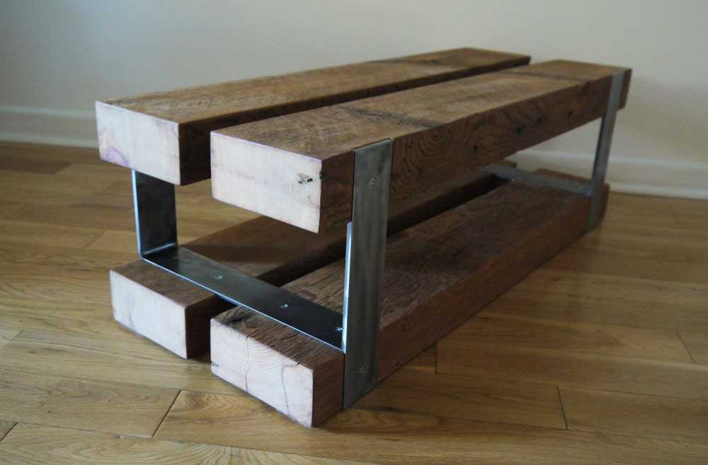 Reclaimed Wood And Metal Bench Modern Rustic End Table Barn