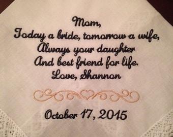 Mother Handkerchief / Hankie Wedding gift Bridal party parent customized