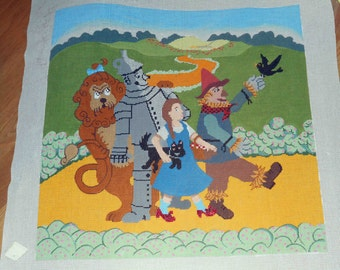 "New Unstitched WIZARD OF OZ Patty Paints Large Hand Painted Needlepoint Canvas 23"" x 23"" Dorothy Tin Man Scarecrow Cowardly Lion Toto"