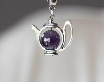 Amethyst Teapot Pendant, Teapot Necklace, Amethyst  Teapot Necklace, Teapot Jewelry, Teapot Pendant,Cute Pendant,For Tea Lovers,Tea Party
