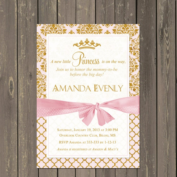 Princess baby shower invitation pink and gold baby shower il570xn filmwisefo