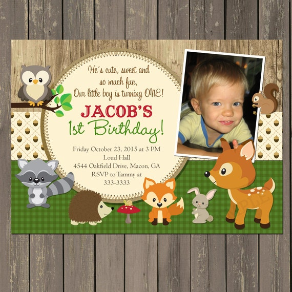 Party Animal 1st Birthday First Birthday Ideas: Woodland Birthday Invitation, Woodland Animal Birthday
