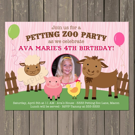 Petting Zoo Invitation Farm Birthday Party Invitation In