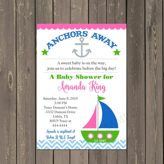 nautical baby shower invitation anchor baby shower invitation