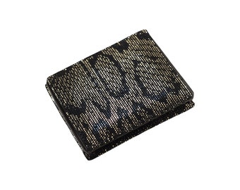 Leather wallet coin holder // black gold - raptile, alligator crocodile embossed (Italian calf skin) - FREE shipping, unique