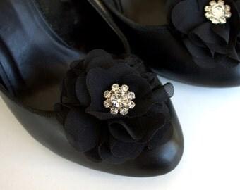 black shoe clips, shoe flowers, bridesmaid gift, wedding accessories